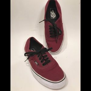 Men's Authentic Vans -PORT ROYALE RED/BLACK Sz 6.5